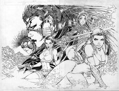 Fathom (Featuring Tomb Raider Witchblade) - Side note, when Michael Turner formed Aspen Comics he had to redraw this story arc to remove Sara Lara. Sara belonged to Top Cow and Lara to Eidos (TC lost the publishing rights to Lara a few years ago). Comic Book Artists, Comic Artist, Comic Books Art, Example Of Comics, Turner Artworks, Aspen Comics, Michael Turner, Western Comics, Comic Drawing