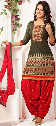 428845: Green color family stitched Cotton Salwar Kameez,Party Wear Salwar Kameez .