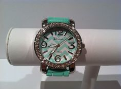 Mint green chevron watch. Silver face with rhinestone detail.