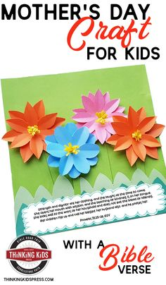 Looking for a mother's day Bible craft? This fun Mother's day craft your kids will want to make comes with printable templates and a verse from Proverbs boys girls Teen quotes Teens Teens christian Bible Crafts For Kids, Bible Lessons For Kids, Mothers Day Crafts For Kids, Activities For Kids, Children Crafts, Craft Kids, Printable Templates, Free Printables, Different Holidays