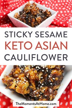 This delicious keto sticky cauliflower is every bit as yummy and satisfying as your favorite sticky food court Chinese chicken And it s super easy to make keto Asian Chinese cauliflower # Sticky Chicken, Sauce For Chicken, Chicken Bites, Keto Chicken, Low Carb Keto, Low Carb Recipes, Diet Recipes, Healthy Recipes, Diet Meals
