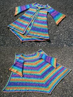 Rainbow Pixie Cardigan - Hippie Festival Sweater - Rainbow Crochet Coat