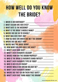 well do you know the bride? Free printable Games & quizzes that don't suck for your bachelorette, bridal shower or hen party.How well do you know the bride? Free printable Games & quizzes that don't suck for your bachelorette, bridal shower or hen party. Bachlorette Party, Bachelorette Party Games, Bachelorette Weekend, Hen Party Games, Hen Night Games, Wedding Shower Games, Bridal Shower Party, Bridal Showers, Free Bridal Shower Games