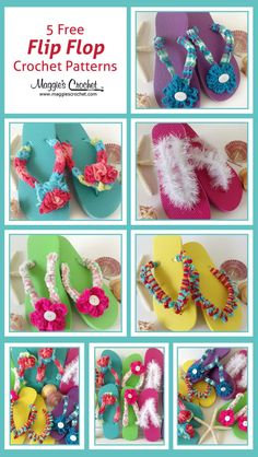 18 Crochet Flip Flops with Free Pattern Five Free Flip-Flop Crochet Patterns Crochet Sandals, Crochet Slippers, Crochet Gifts, Free Crochet, Flip Flop Craft, Crochet Flip Flops, Estilo Hippie, Crochet Accessories, Beach Accessories