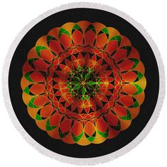 Toltec mandala Round Beach Towel by Lenka Rottova. The beach towel is in diameter and made from polyester fabric. Beach Towel Bag, Summer Essentials, Household Items, Towels, Mandala, House Design, Technology, Holiday Decor, Creative