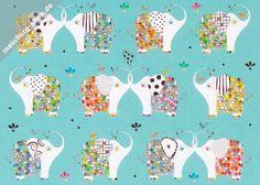 Elefanten Postkarte
