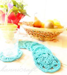 Blue flower coasters crochet pattern