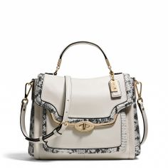 Coach :: MADISON SMALL SADIE FLAP SATCHEL IN TWO-TONE PYTHON EMBOSSED LEATHER