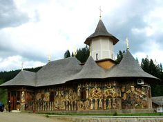 The church of the Petru Voda monastery, Neamt, Romania Medieval World, Place Of Worship, Ancient Rome, Romania, Gazebo, Outdoor Structures, Architecture, Places, Madame