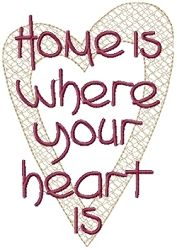 Home Is Where Your Heart Is - 5x7 | Primitive | Machine Embroidery Designs | SWAKembroidery.com HeartStrings Embroidery