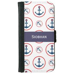Personalized Nautical Anchor And Heart iPhone 6 Wallet Case from #Ricaso