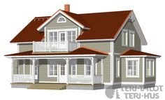 Husmodeller | Trähus | Huspaket | Teri-Hus | Övriga modeller | 1½-plan | L-13191 / 174 m² House Paint Exterior, Exterior House Colors, Wooden Dog House, Large Dog House, England Houses, Sweden House, Small Cottage Homes, Cottages And Bungalows, Red Roof