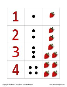 Strawberry Counting Cards help preschoolers to learn basic counting skills as well as number recognition. Math Activities, Preschool Activities, Early Years Classroom, Strawberry Patch, File Folder Games, Pre Kindergarten, Eyfs, Math Classroom, Lesson Plans