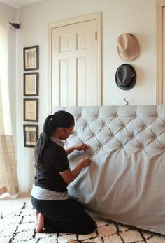 how to make a sophisticated diamond tufted headboard for only bedroom ideas,. how to make a sophisticated diamond tufted headboard for only bedroom ideas, diy, how to, reupholster Furniture Projects, Home Projects, Diy Furniture, Weekend Projects, Repainting Furniture, Furniture Online, Upcycled Furniture, Garden Furniture, Reupholster Furniture
