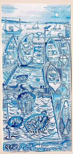 Mussel Beds, signed drawing 17cm x 35 cm www.fish-and-ships.com