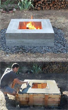 24 Best Fire Pit Ideas to DIY or Buy ( Lots of Pro Tips! ) 24 best outdoor fire pit ideas including: how to build wood burning fire pits and fire bowls, where to buy great fire pit kits, beautiful DIY fire pit tables and coffee tables, creative outdoor f Wood Fire Pit, Fire Pit Grill, Concrete Fire Pits, Wood Burning Fire Pit, Diy Fire Pit, Fire Pit Backyard, Backyard Patio, Backyard Landscaping, Diy Propane Fire Pit