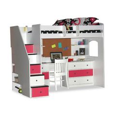 Berg Furniture Utica Twin Dorm Loft Bed with Desk and Storage