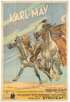 """Film Poster for the first Karl May movie, 1936. Kinowerbung für den ersten Karl-May-Tonfilm """"Durch die Wüste"""" von dem deutsch-österreichischen Regisseur Johannes Alexander Hübler-Kahla"""