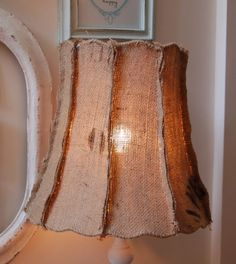 Burlap lamp shade  Great Form ~ Love the outside seams...