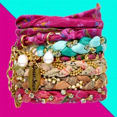 "Reclaimed Vintage Sari Bracelets (not that I care about the ""reclaimed"" or ""vintage"" part... I ain't no hipster...). Cute!"