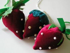 Red Velvet Strawberries - Handmade Pin Cushions, Ornaments - need to get one of these for my little strawberry girl!