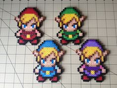 Legend of Zelda Bead Sprite Set  Four Swords Links by ToughTurtles, $15.00