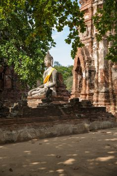thailand ayutthaya ancient siam ruins buddha wat temple structure stone brick bodhi tree thai summer travel photo sher she goes shershegoes.com