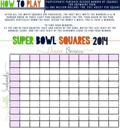 Super Bowl Pools Ideas super bowl food and craft ideas 2014 Super Bowl Squares Free Printable For Your Party How To Play