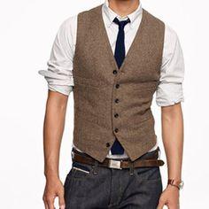 2016 Vintage Brown tweed Vests Wool Herringbone British style custom made Mens suit tailor slim fit Blazer wedding suits for men B052802
