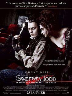Sweeney Todd, le diabolique barbier de Fleet Street est un film de Tim Burton avec Johnny Depp, Helena Bonham Carter. Synopsis : Après avoir croupi pendant quinze ans dans une prison australienne, Benjamin Barker s'évade et regagne Londres avec une seule idée en tête : se venger