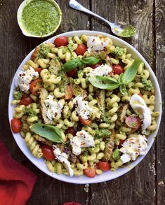 Pesto Pasta with Grilled Chicken, Cherry Tomatoes and Burrata recipe by Diane Morrisey Grilled Chicken Pasta, Chicken Parmesan Pasta, Pesto Pasta, Pasta Salad, Zucchini Dinner Recipes, Great Dinner Recipes, Yummy Recipes, Diet Recipes, Dinner Ideas