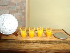 Dollhouse Miniature 1:12 Food & Groceries Glasses Orange Juice 4pk  #I1-5  #MiniaturesWorld