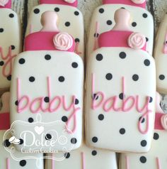 Baby Shower Baby Bottle Cookies - 1 Dozen Pcs) by Dolce Custom Cookies on Gourmly Fancy Cookies, Iced Cookies, Cute Cookies, Royal Icing Cookies, Cupcake Cookies, Sugar Cookies, Cookie Favors, Flower Cookies, Heart Cookies