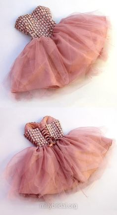 Cheap Pink Prom Dresses,A-line Sweetheart Party Gowns, Tulle Short Formal Dresses,Cute Beading Evening Dress,Lace-up Homecoming Dresses,Sweet Graduation Dresses