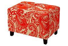 Ailsa Storage Ottoman, Orange on OneKingsLane.com