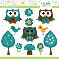 Owls - Teal and Brown - Clip Art Set - Digital Elements Commercial use for Cards, Stationery and Paper Crafts and Products. $5.00, via Etsy.