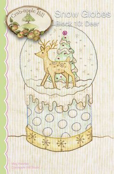 Crabapple Hill Quilt Pattern - Hand Embroidery  2531  Deer Snow Globes Block 10