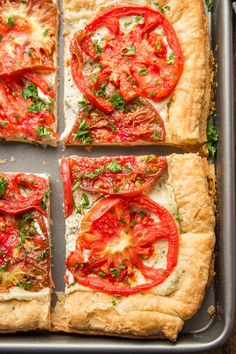 This decadent vegan tomato tart is made with a flaky puff pastry crust slathered in herbed cashew cheese and topped with juicy roasted tomato slices. It's absolutely delicious and surprisingly easy to make! Perfect for a summer appetizer or light main dish! #tomatoes #veganrecipes #dairyfree Vegan Party Food, Vegan Lunch Recipes, Delicious Vegan Recipes, Vegan Snacks, Vegan Meals, Vegan Food, Dairy Free Appetizers, Appetizer Recipes, Tomato Tart Puff Pastry