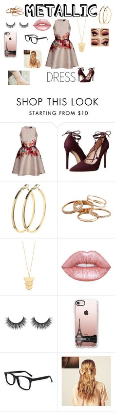 """""""Metallic Dress"""" by griffindorprincesss ❤ liked on Polyvore featuring Massimo Matteo, Pieces, Kendra Scott, Gorjana, Lime Crime, Casetify and Hershesons"""