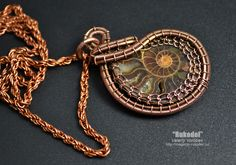 Wire Wrap Pendant. Ammonite fossil slice Madagascar. от vorobev