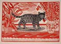 Tone: Patterns and hatching defining tone. Cat in Red - Edward Bawden