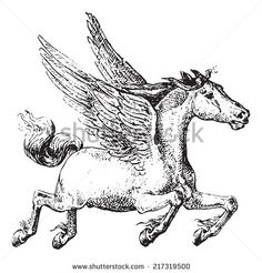 Pegasus, vintage engraved illustration. Dictionary of words and things - Larive and Fleury - 1895. - Shutterstock Premier