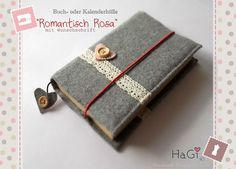 Felt Book Cover Romance with Lace Moms Day Gift by HerzigGenaehtes, €22.80