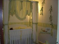 To Braylynne, Love Grandma: I hand painted this elegant nursery for my first grandaughter, due May of 2009. I designed and sewed all of the bedding, the canopy and the curtains, myself.
