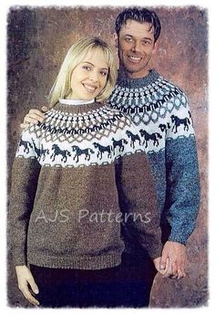 This PDF Knitting Pattern is for this Nordic/Scandinavian Sweater with a Horse Yoke Motif, worked from an easy-to-use graph. This sweater would be suitable for both Men & Women and Children Knitted in Létt-Lopi wool 50 g balls x A-0053, acorn heather OR A-0057, grey heather 5 (8:10) B-0051, white 2 (3:3) C-0005, black heather 1 (2:2). Children's(128 cm) (Women's: Men's Chest: 86 (109:119) cm Length to underarm: 48 (67:71) cm Sleeve length to underarm: 31 (44:49) cm when completed. It is…