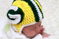 Green Bay Packer Helmet Beanie Toddler/Child by SchlisKnits, @Rachel Goodpasture...I would change to a KState helmet but it is still stinkin cute...and since we now have Jordy nelson to cheer for??