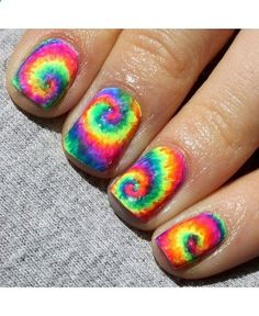 Make a loud statement this Summer with neon rainbow tie dye nail art. Itll brighten things right up! Click here for the tutorial courtesy...