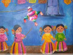 An illustration of little girls hitting a Christmas piñata. Mexican Colors, Mexican Style, Mexican Christmas Traditions, Mexican Paintings, Mexico Art, Mexican Designs, Mexican Folk Art, Drawing For Kids, Art Projects