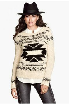 National wind sweater jacquard pattern_Sweaters_CLOTHING_Voguec Shop