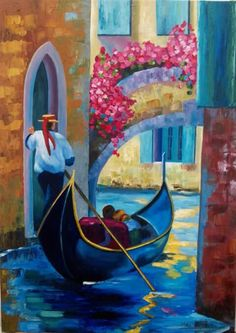 Venice Painting, Italy Painting, Boat Painting, Small Paintings, Landscape Paintings, Caravaggio, Epic Drawings, Gondola, Italian Art